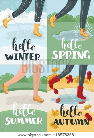 Vector cartoon illustration of hello four season, vector calligraphy style with funny illustration of legs in boots walking in the park in different part of year