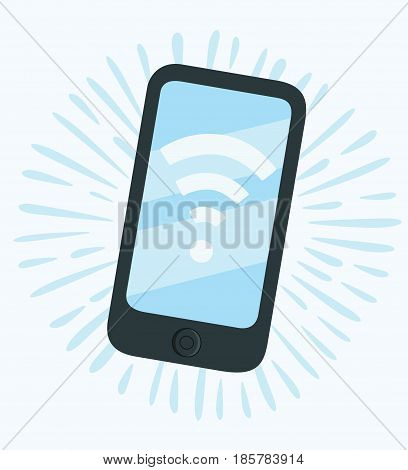 Vector cartoon funny illustration of phone Wi-Fi hand drawn icon.