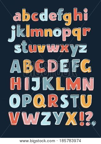 Vector cartoon vector English alphabet A-Z Outline Color. Sans hand drawn typeface. Uppercase and lowercase letters set in a different colors on dark background