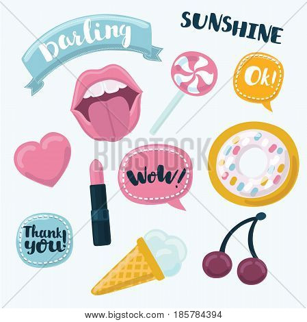 Fashion cartoon funny patch badges with mouth, heart, speech bubbles, cheries, donut and other elements. Vector illustration isolated on white background. Set of stickers, patches.