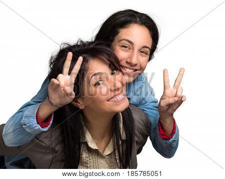 Happy mum and teenager daughter