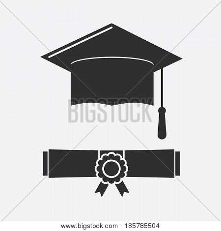 Silhouette Graduation hat and rolled diploma. Graduate cap pictogram for web and applications. Flat vector illustrations isolated on a white background