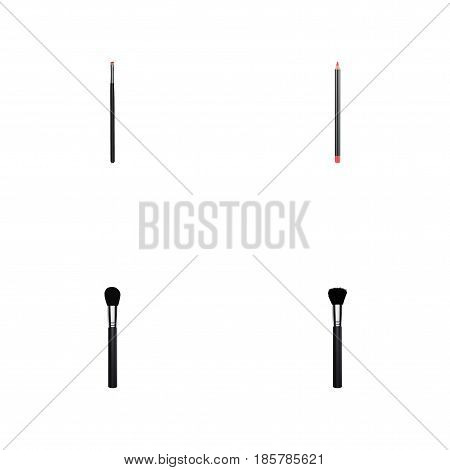 Realistic Beauty Accessory, Contour Style Kit, Fashion Equipment And Other Vector Elements. Set Of Greasepaint Realistic Symbols Also Includes Tassel, Brow, Cosmetics Objects.