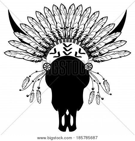 Warrior style Wild Animal Skull  with tribal Headdress with plain feathers, decorative band and beads  in white and black symbolizing native American people