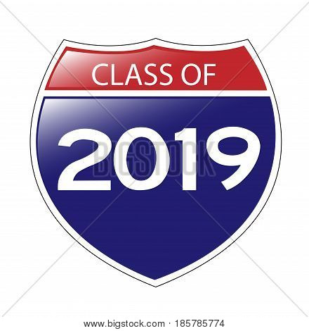 Class of 2019 USA Interstate Sign with reflection.