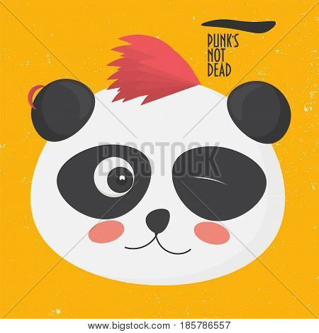 Vector illustration: cute punk panda with a punk hairstyle on a yellow grunge background. Panda bear character made in a cartoon style. Text punk's not dead.