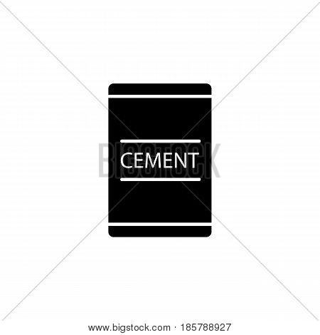Cement bag solid icon, build repair elements, construction tool, a filled pattern on a white background, eps 10.