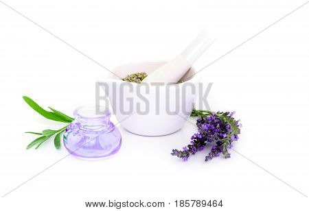 Lavender Flowers, Lavander Extract And Montar With Dry Flowers Isolated On White