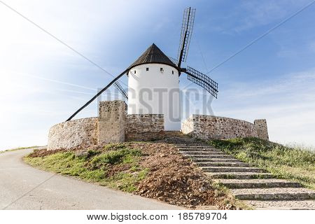 Staircase leading to a windmill in Alcazar de San Juan, province of Ciudad Real, Castilla-La Mancha, Spain