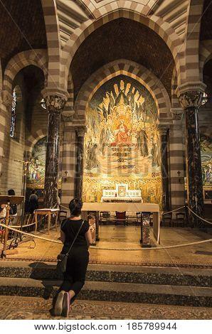 Paray Le Monial France - September 13 2016: Shrine of St. Claude de la Colombiere in Paray-le-Monial France mosaic behind the altar inside the church