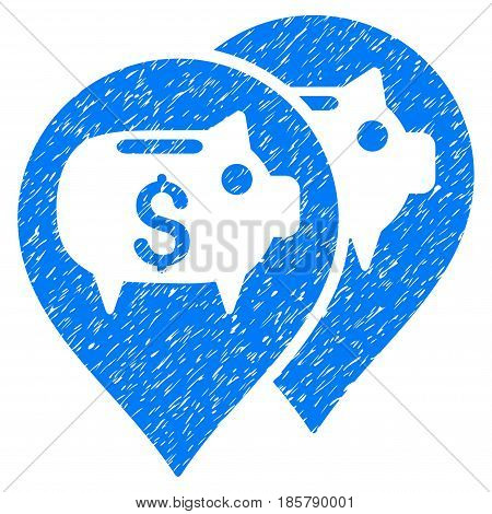 Grunge Bank Map Pointers icon with grunge design and unclean texture. Unclean vector blue pictogram for rubber seal stamp imitations and watermarks. Draft sticker symbol.