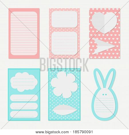 Set of different vector note papers.Collection of vector card and stickers templates.