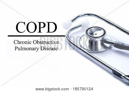 Page with COPD (Chronic obstructive pulmonary disease) on the table with stethoscope medical concept