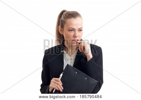 sexy business woman looks away and bites your finger is isolated on a white background close-up