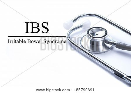 Page with IBS (Irritable Bowel Syndrome) on the table with stethoscope medical concept