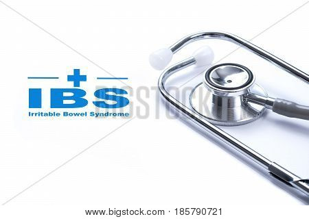 Page with IBS (Irritable Bowel Syndrome) on the table with stethoscope medical concept.