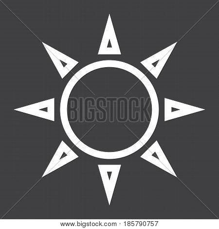 Sun line icon, weather and sunshine, vector graphics, a linear pattern on a black background, eps 10.