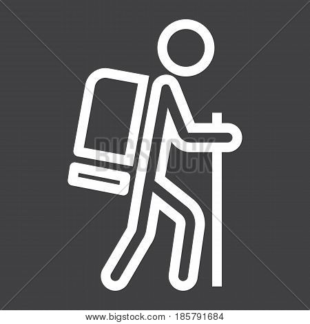 Hiking line icon, Travel and tourism, tourist vector graphics, a linear pattern on a black background, eps 10.