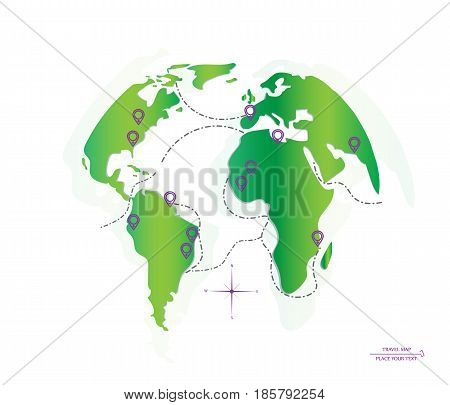 World map routes and location. Icon planet Earth. Vector illustration.