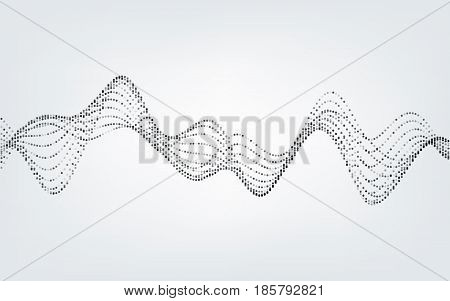 Abstract vector illustration of waves with particles on white background. Futuristic background with lines of many dots. Pattern design for poster, cover, banner, placard