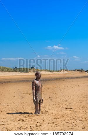 Sculpture On Crosby Beach, The Another Place By Anthony Gormley