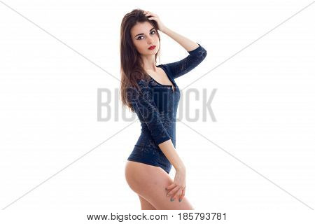 charming brunette in body posing on camera isolated on white background