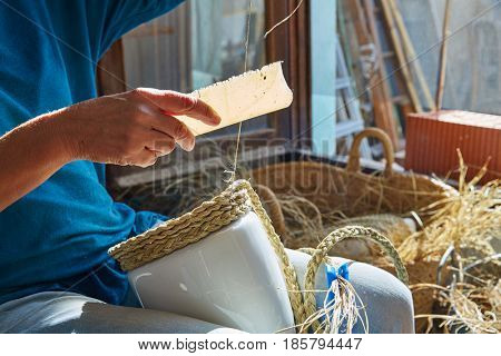 Esparto halfah grass crafts craftsman hands working