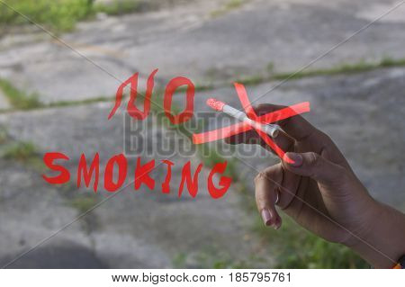 Lady smoking a non-smoking panel Smoking Cessation Campaign