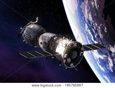 Russian Spacecraft Orbiting Planet Earth. 3D Illustration.