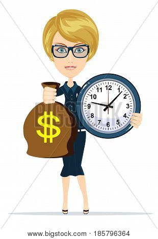 Woman holding a money bag and clock. Smiling businessman carrying big heavy sack full of cash money with dollar sign on it. Flat style modern vector illustration isolated on white background.