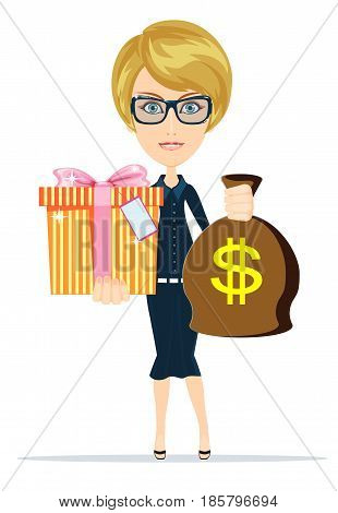Woman holding a money bag and gift box. Smiling businessman carrying big heavy sack full of cash money with dollar sign on it. Flat style modern vector illustration isolated on white background.