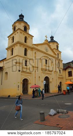 Bogota, Cundinamarca / Colombia - April 8 2016: View of Church of Our Lady of La Candelaria in the La Candelaria area in the downtown of the city of Bogota