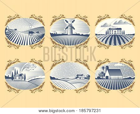 Retro landscapes vector illustration farm house agriculture graphic countryside. Grunge farmhouse outdoor road season scene horizon organic scenic antique drawing.