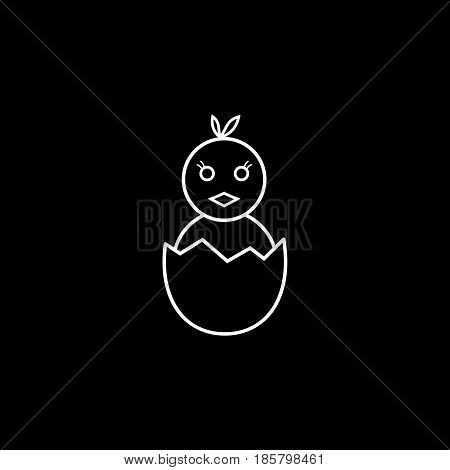 Chick hatched from an egg line icon, religion holiday elements, Happy easter sign, a linear pattern on a black background, eps 10.