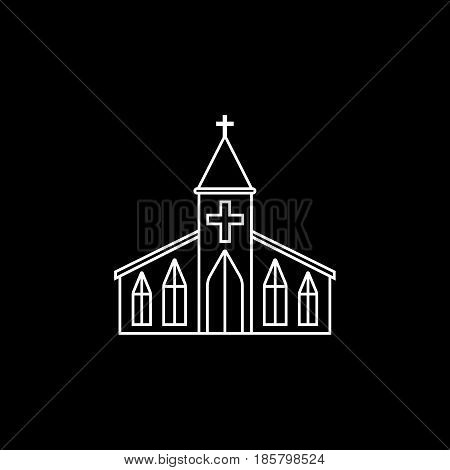 Church line icon, religion building elements, Religious sign, a linear pattern on a black background, eps 10.