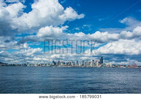 Seattle Skyline taken from Elliott Bay Waterfront