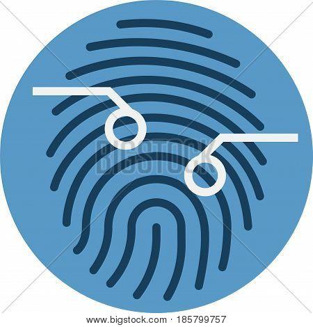 Fingerprint Scan Sensor. Biometrics Technique Vector Icon.