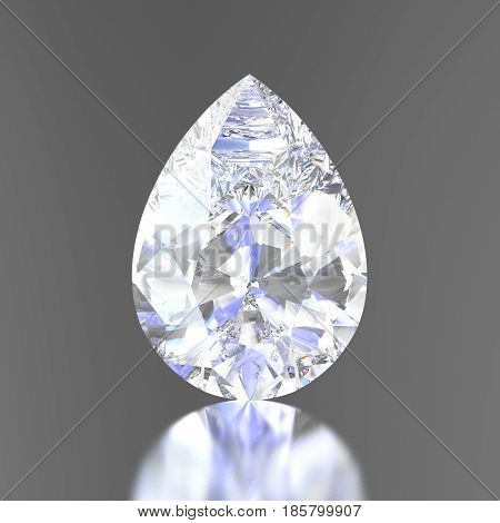 3D illustration diamond teardrop with reflection on a gray background