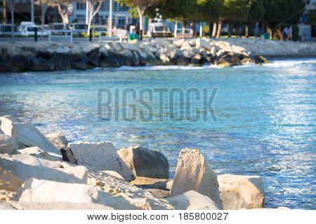 Beautiful Sea at Molos Walkway in Limassol Cyprus
