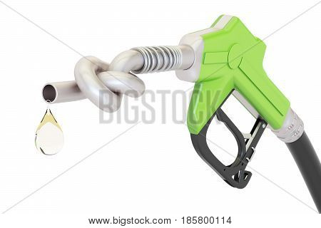 Energy crisis concept. Gas pump nozzle tied in a knot 3D rendering isolated on white background