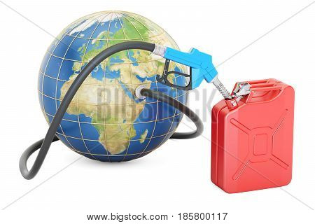 Fuel pump nozzle connected with Earth and jerrycan 3D rendering isolated on white background
