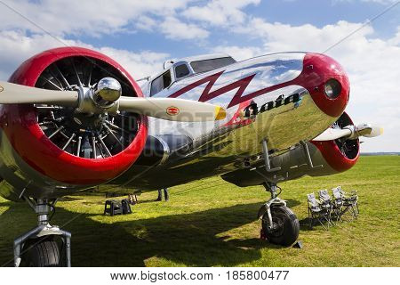 Plasy, Czech Republic - April 30: Lockheed Electra 10A Vintage Airplane Standing On Airport On April