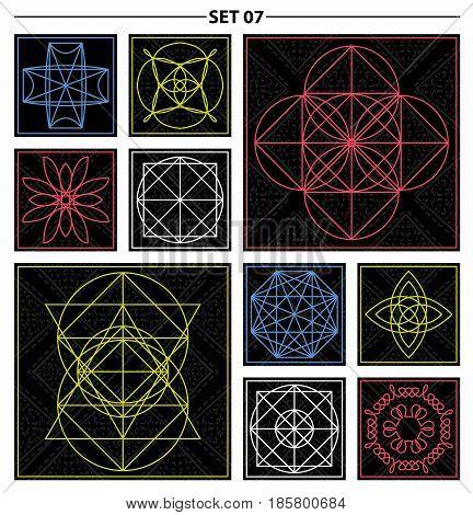 Set of geometric and floral linear monogram design. Line art elements. Vector illustrationv