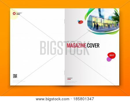 Magazine cover design. Corporate business brochure, annual report, catalog, magazine template layout concept.