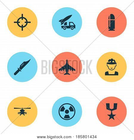 Army Icons Set. Collection Of Military, Dangerous, Order And Other Elements. Also Includes Symbols Such As Slug, Fighter, Helicopter.