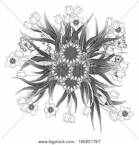 Mandala bouquet of tulips of sunflowers and wildflowers coloring for adults