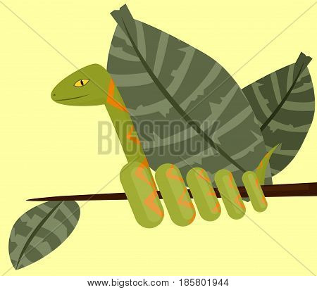 Green with an orange pattern snake on a branch. Vector illustration