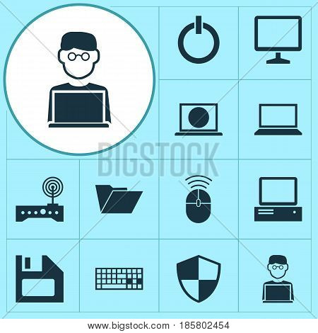 Notebook Icons Set. Collection Of Computer Mouse, Dossier, Laptop And Other Elements. Also Includes Symbols Such As Man, Folder, Diskette.