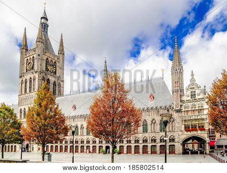 View on historical Lakenhal building in Ypres - Belgium
