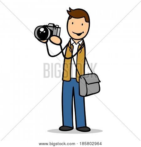 Cartoon man as photographer with camera as reporter or journalist